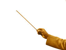 Gold conductor's hand Stock Photos