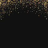 Gold confetti. Abstract top border on black background. Vector illustration Stock Image