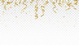 Gold confetti background, isolated on transparent background royalty free illustration