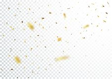 Gold confetti background, isolated on transparent background Stock Photo
