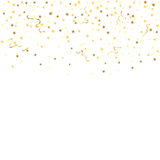 Gold confetti background. Gold star confetti celebration, isolated on white background. Falling golden abstract decoration for party, birthday celebrate Royalty Free Stock Images