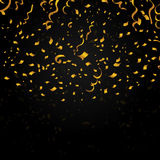 Gold confetti on black background. Vector festive Stock Images