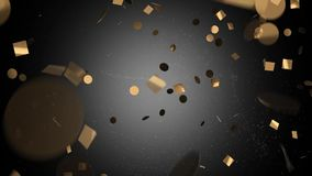 Gold confetti in black on a white background