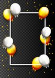 Gold Confetti Celebration With Balloon Background isolated on white. Illustration of Party Gold Confetti Celebration With Balloon isolated on white  background Royalty Free Stock Photography