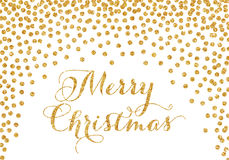 Gold confetti Christmas card Royalty Free Stock Photo