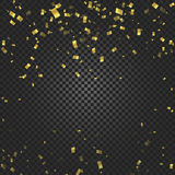 Gold confetti falling and ribbons on black transparent background vector illustration. Party, festival, fiesta design. Decor poster element Royalty Free Stock Photography