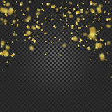 Gold confetti falling and ribbons on black transparent background vector illustration. Party, festival, fiesta design. Decor poster element Stock Images