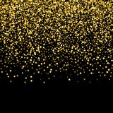 Gold confetti rain festive holiday background. Vector golden paper foil sequins falling down isolated on transparent stock illustration