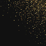 Gold confetti. Scattered top right corner on black background. Vector illustration Stock Image
