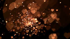 Gold confetti and sparks. In slow motion stock video