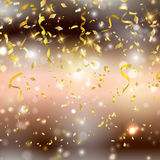 Gold confetti and streamers backgrond Stock Photography