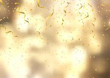 Gold confetti and streamers on defocussed background. Gold confetti and streamers on a defocussed background Vector Illustration