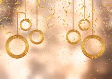 Christmas background with gold confetti and decorations. Gold confetti and streamers on a defocussed background vector illustration