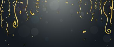 Gold confetti and streamers Royalty Free Stock Photos