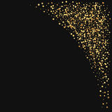 Gold confetti. Top right corner on black background. Vector illustration Stock Photos
