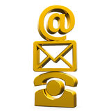 Gold contact symbols Royalty Free Stock Photography