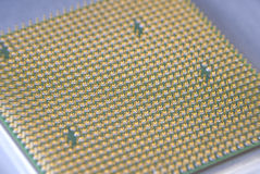 Gold contacts on Computer CPU Chip Royalty Free Stock Image