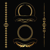 Gold contour decorative ornaments Royalty Free Stock Photos