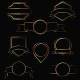 Gold contour labels Stock Photos