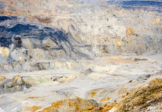 Gold and copper mining. Gold and copper quarry. Mining waste. Poisoned industrial landscape Royalty Free Stock Photo