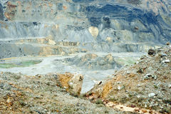Gold and copper mining. Gold and copper quarry. Mining waste. Poisoned industrial landscape Royalty Free Stock Images