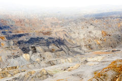 Gold and copper mining. Gold and copper quarry. Mining waste. Poisoned landscape Stock Photo