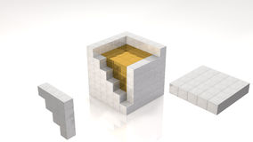 Gold Core. Inside Open Cube (with clipping path Stock Photography