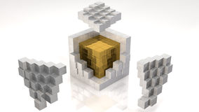Gold Core. Inside Open Cube (with clipping path Royalty Free Stock Photography