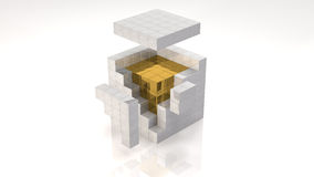 Gold Core. Inside Open Cube (with clipping path Royalty Free Stock Images