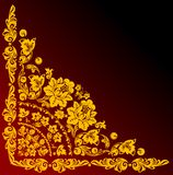 Gold corner on red and black Royalty Free Stock Image