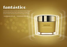 Gold cosmetic cream with glowing lights effect stock photos