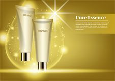 Gold cosmetic tube with gold water drop and lens flare light eff stock photography
