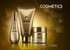 Gold Cosmetics Vector realistic package ads template. Face and body cream products bottles. Mockup 3D illustration. Sparkling background Stock Photos