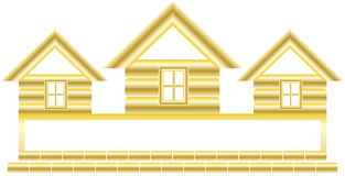 Gold cottage and space for text Royalty Free Stock Photos