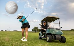 Gold Couple Playing Fairway Stoke Stock Image