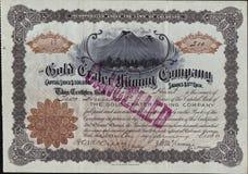 1896 The Gold Crater Mining Company Stock Certificate - Cripple Creek, Colorado Stock Photos