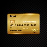 Gold credit card  on black Royalty Free Stock Images