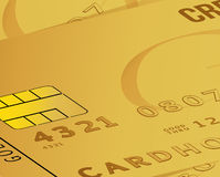 Gold credit card business close up illustration Royalty Free Stock Photography