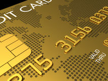Gold credit card, macro 3D render Royalty Free Stock Photos