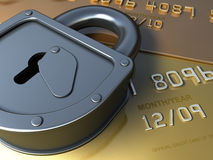 Gold credit card security. Safety Finance illustration. Fantasy golden credit card and lock for security. finance 3d illustration Stock Photography