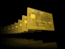 Gold credit cards Royalty Free Stock Images