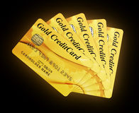 Gold Credit Cards. 3d rendering of gold credit cards Stock Photos