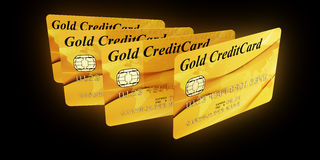 Gold Credit Cards. 3d rendering of gold credit cards Stock Image