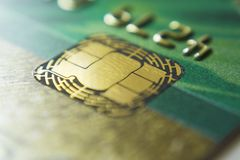 Gold credit cards close up. Macro shot smart card, credit card chip stock images