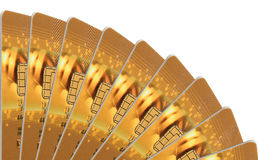 Gold credit cards isolated Stock Photo