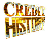 Gold credit history text on a white background Stock Photos