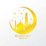 Gold Crescent with Mosques and Stars on White Background Vector Design. Ramadan Kareem Greeting Illustration. Ramadan Celebration. Ramadan Kareem Greeting Royalty Free Stock Images