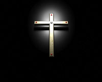 Gold Cross on Black background Stock Image