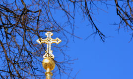 Gold cross on the blue sky background and branches of tree. Easter composition. Cross against the sky, behind the tree Royalty Free Stock Photos