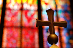Gold cross in church royalty free stock photo